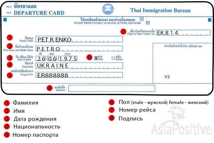 образец заполнения миграционной карты шри ланка