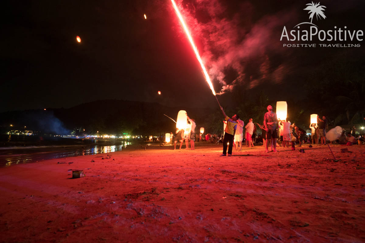 Запуск фейерверков на Новый год в Таиланде