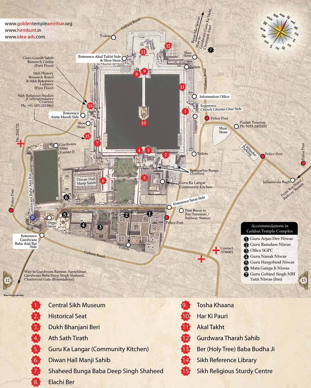 План - схема храмового комплекса | Золотой храм и священный город Амритсар (Индия) | AsiaPositive.com