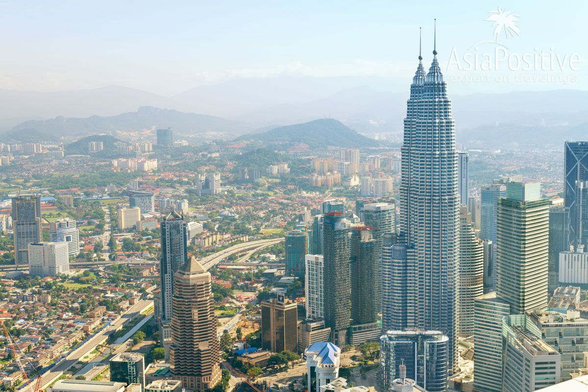 Вид на Куала Лумпур с Телебашни Менара | Подробный план самостоятельной поездки с Пхукета в Сингапур и Куала-Лумпур | Таиланд | Путешествия по Азии с AsiaPositive.com