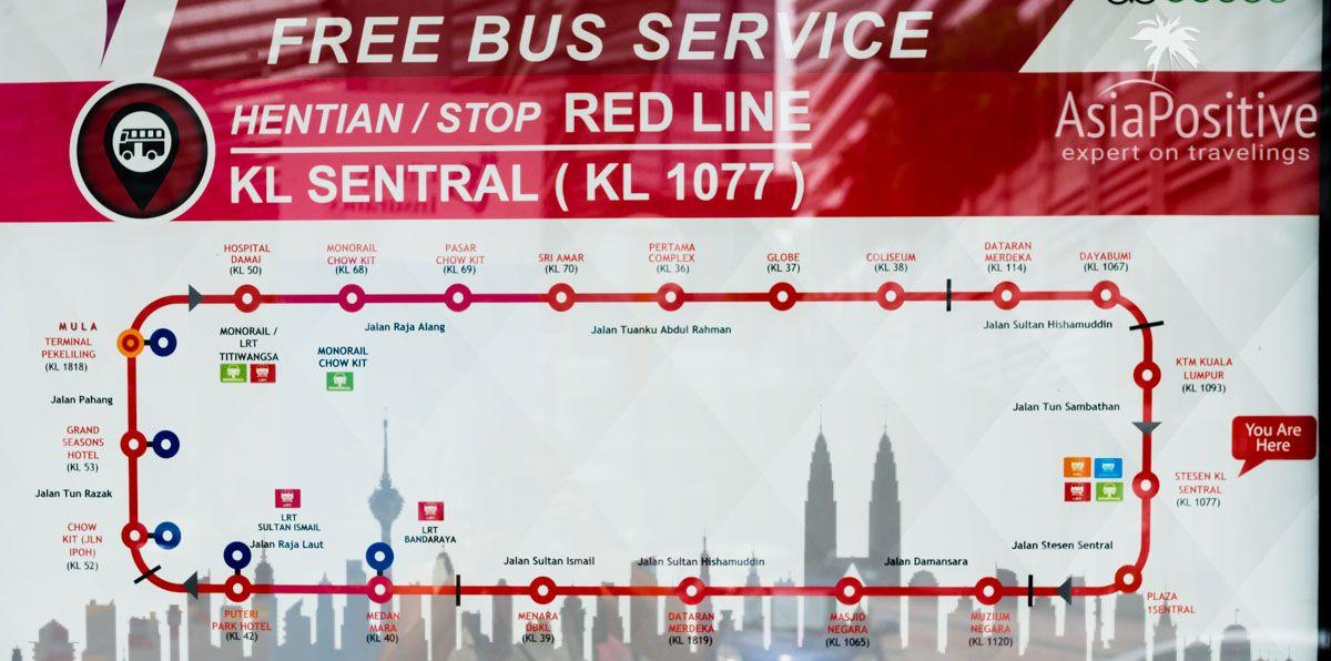 Красный маршрута бесплатного автобуса | Виды автобусов в Куала-Лумпуре, как ими пользоваться и как можно ездить на автобусе по достопримечательностям Куала-Лумпура бесплатно.| Автобусы в Куала-Лумпуре (Малайзия): рейсовые, туристические и бесплатные | Путешествия по Азии AsiaPositive.com