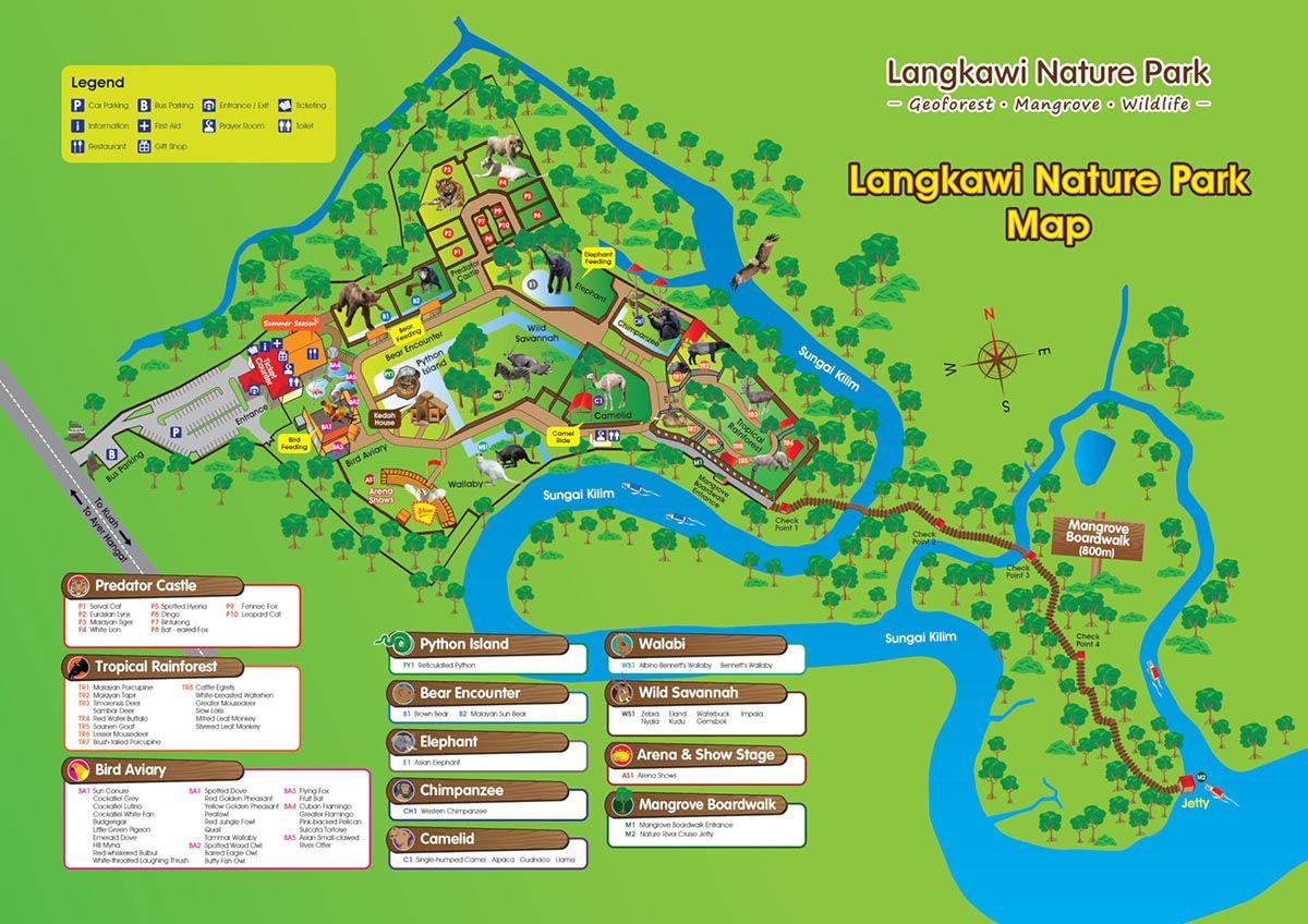 Карта с схема зоопарка и природного парка Langkawi Nature Park | Отдых на острове Лангкави с детьми | Малайзия | Путешествия по Азии с AsiaPositive.com