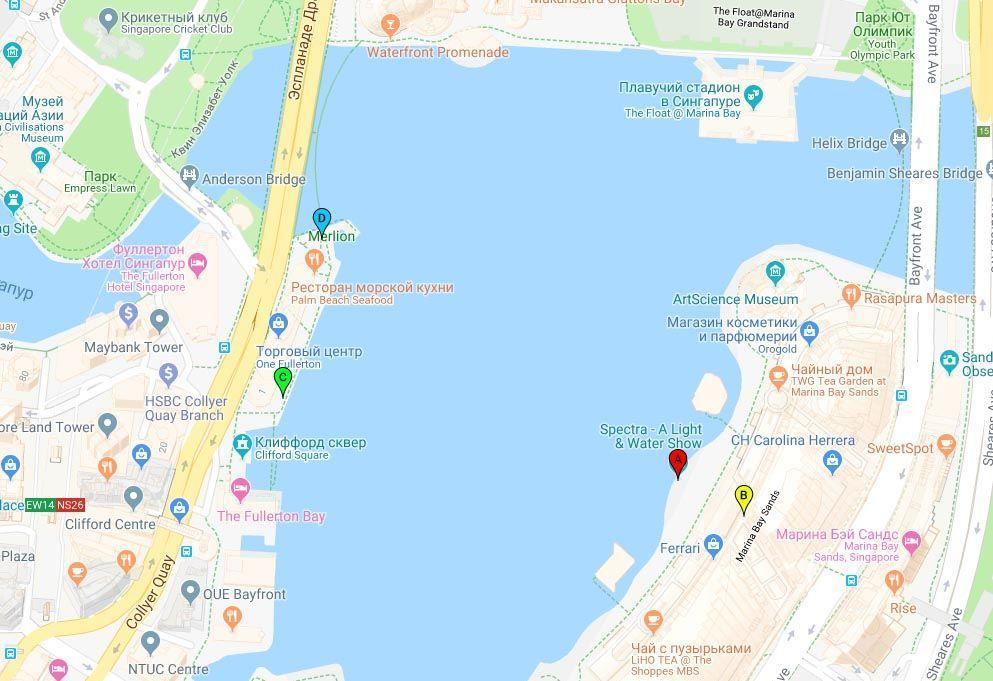 Наилучшие точки на набережной для просмотра шоу в Марина Бей на карте | Световое и водное шоу в Марина Бей, Сингапур | Путешествия по Азии с AsiaPositive.com