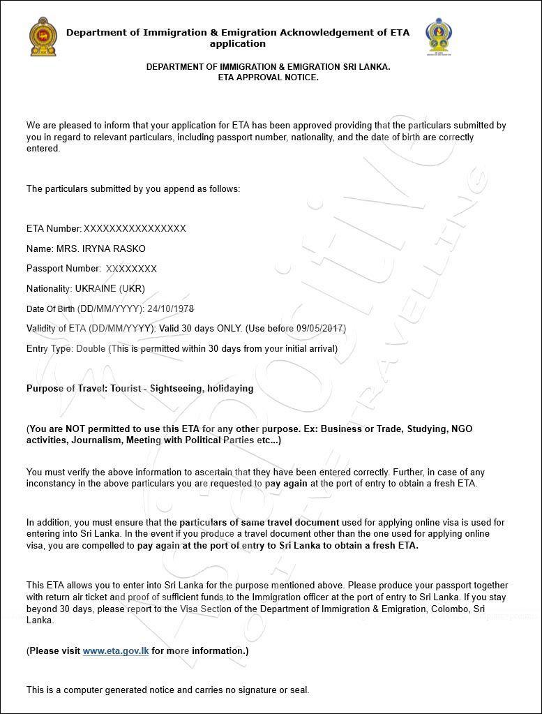 электронного разрешения на путешествие (ЕТА) | Правила оформления визы на Шри-Ланку онлайн | Путешествия по Азии с AsiaPositive.com