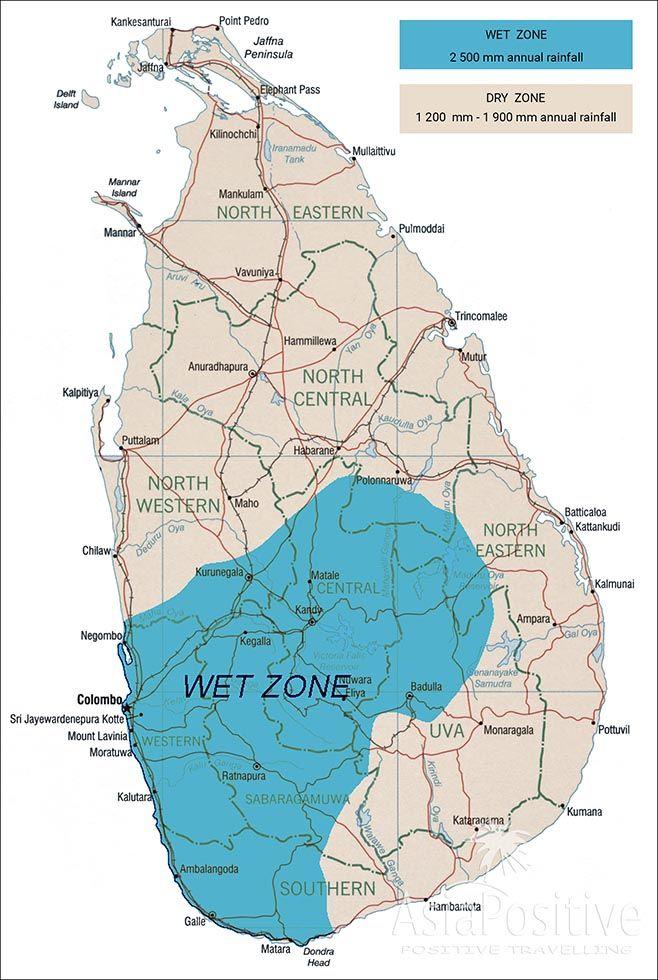 Карта Шри-Ланки: самая дождливая часть острова находится на юго-западе и горной части Шри-Ланки. | Отдых на Шри-Ланке. Погода и климат. | Позитивные путешествия AsiaPositive.com