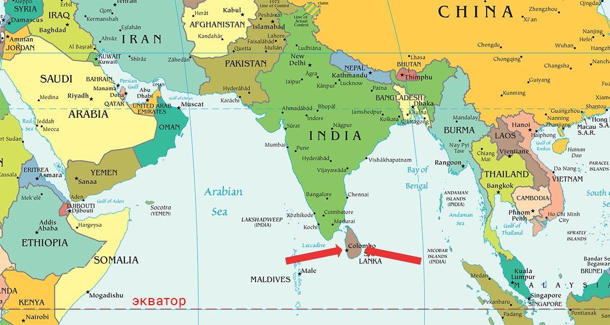 шри-ланка на карте мира фото
