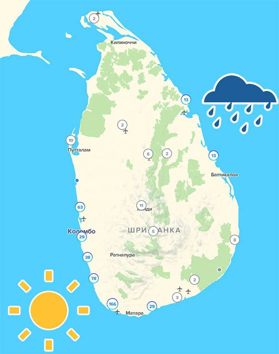 Погода на Шри-Ланке в январе: солнце на юге и западе, дожди на востоке острова | Отдых на Шри-Ланке на Новый Год и Рождество: когда и на какие курорты лучше ехать | Путешествия по Азии с AsiaPositive.com