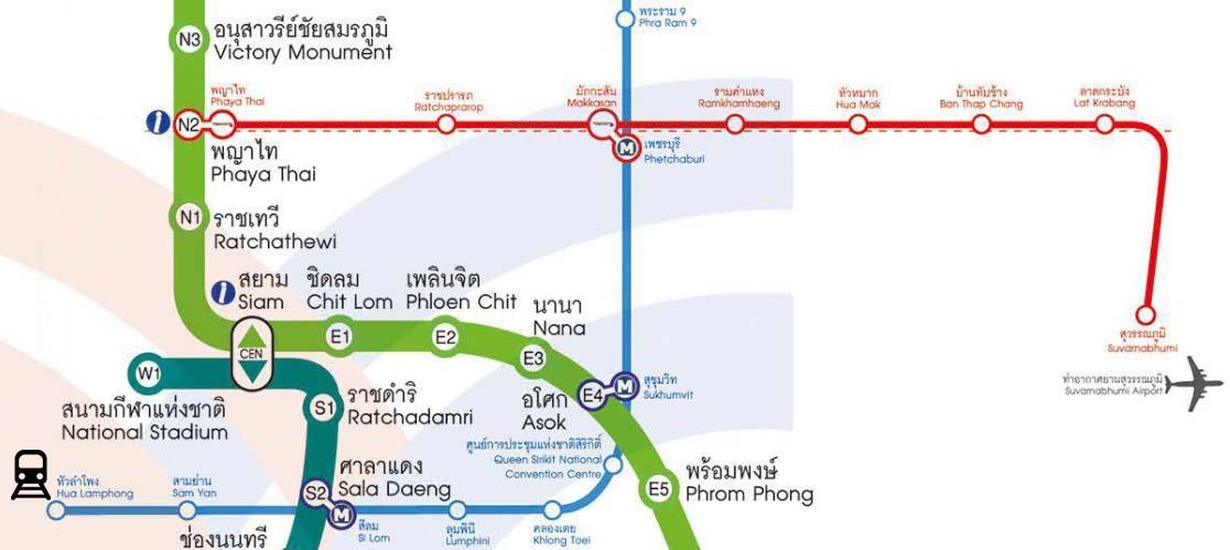 Схема со всеми остановками Airport Rail Link, ветками метро и BTS | Как добраться из аэропорта Суварнабхуми в Бангкок | Таиланд с AsiaPositive.com