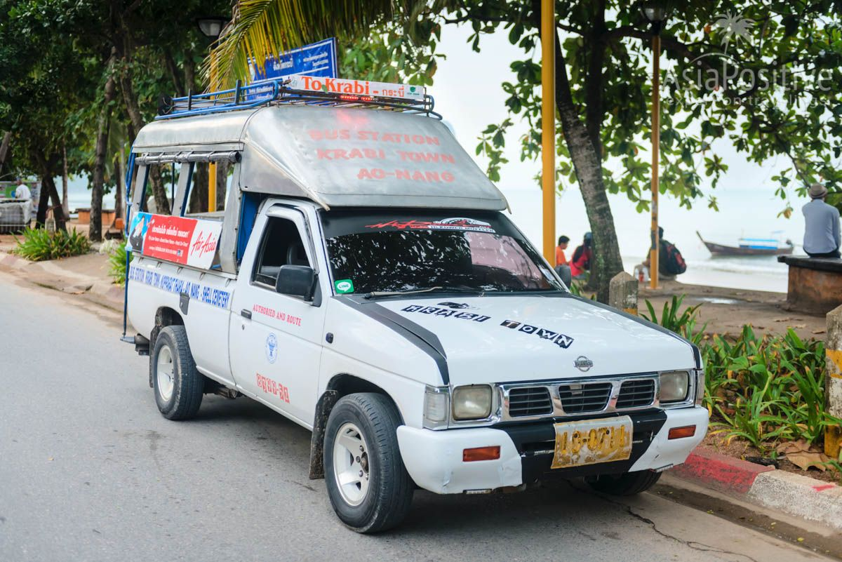 Inexpensive public transport in Ao Nang (songthaew) | Krabi, Thailand | Travel in Asia with AsiaPositive.com