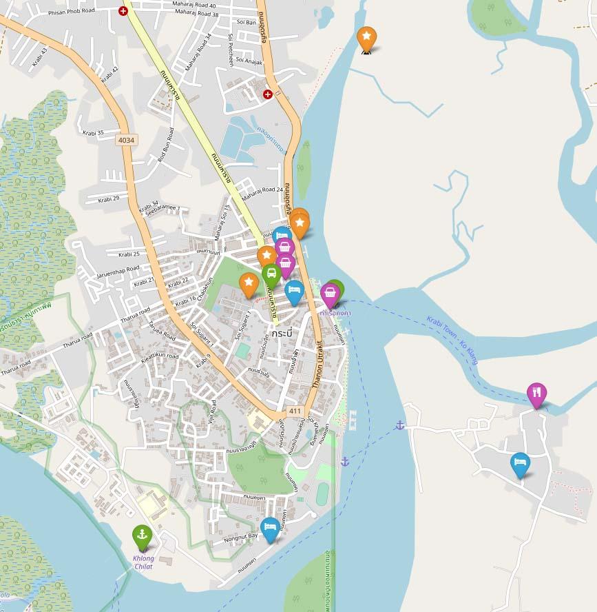 Карта центра города Краби (Krabi town) с достопримечательностями, рынками, остановками транспорта и лучшими отелями города | Таиланд с AsiaPositive.com