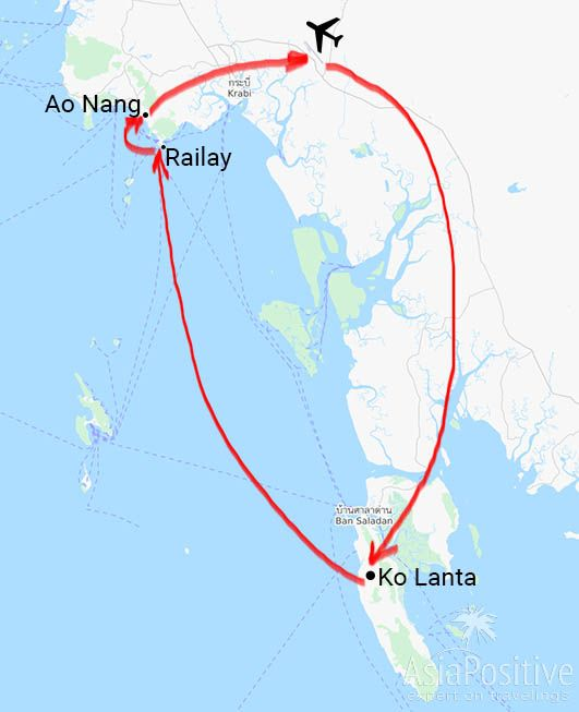 Схема маршрута путешествия по Краби (Ко Ланта, Рейли и Ао Нанг) | AsiaPositive.com