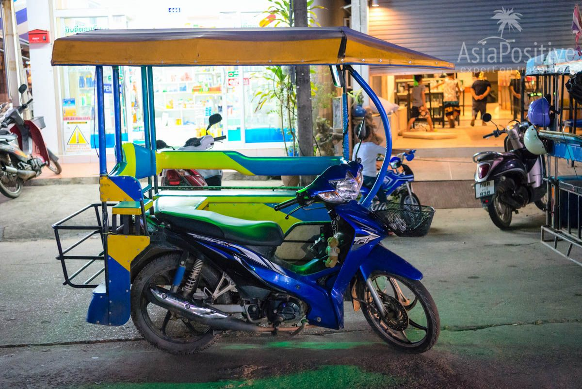 Тuk-tuk in the form of a motorbike with a trailer | Transport on Koh Lanta | Travel with AsiaPositive.com