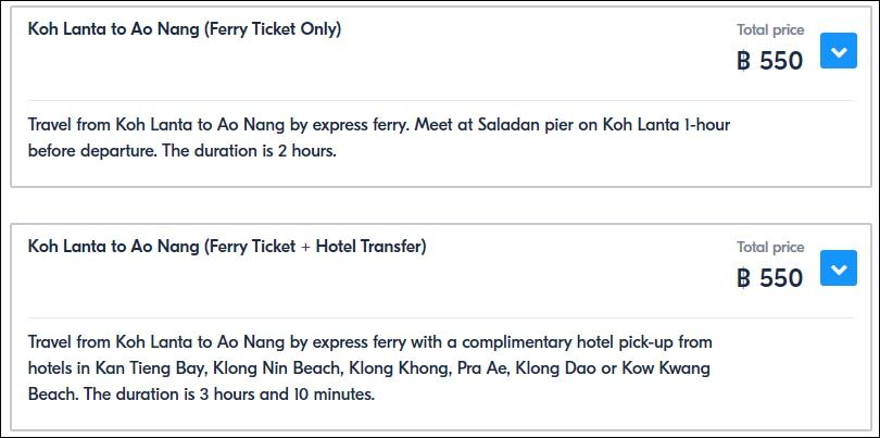 Ferry tickets with and without transfer from the hotel | How to buy ferry tickets from Ko Lanta to Ao Nang and Railay | Travel with AsiaPositive.com