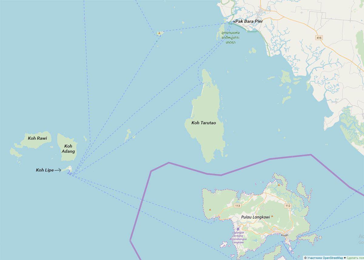 Остров Ко Липе, соседние острова и ближайший порт на карте | Как добраться до острова Ко Липе (Таиланд) | Путешествия по Азии с AsiaPositive.com