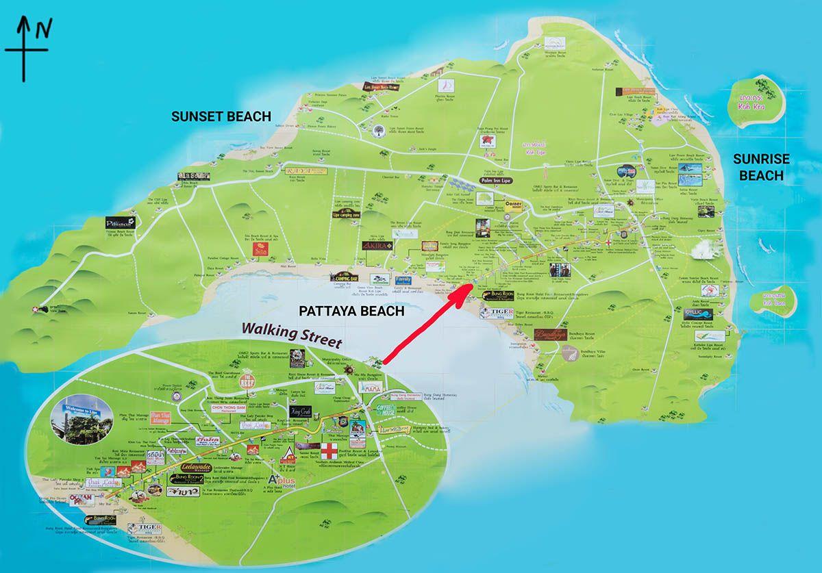 Карта острова Ко Липе с пляжами и схемой главной пешеходной улицы | Лучшие отели на острове Ко Липе (Таиланд) | Путешествия по Азии с AsiaPositive.com
