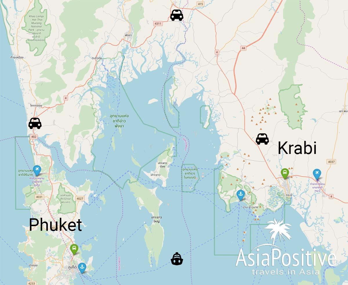 Карта Краби и Пхукета с аэропортами, автостанциями и портами