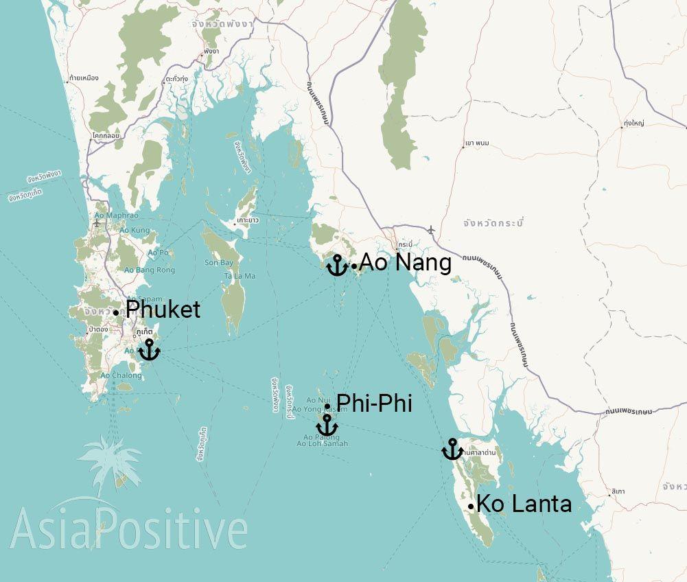 Карта Таиланда с островами Пхукет, Ко Ланта, Пхи-Пхи и курортом Ао Нанг (Краби) | Как добраться с Пхукета на остров Ко Ланта | Путешествия и отдых с AsiaPositive.com