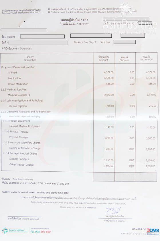 Счёт включает детализацию по статьям| Во сколько может обойтись лечение в больницах Таиланда и стоит ли оформлять страховку для отдыха в Таиланде. | Стоимость и уровень медицины в Таиланде | Эксперт по путешествиям AsiaPositive.com