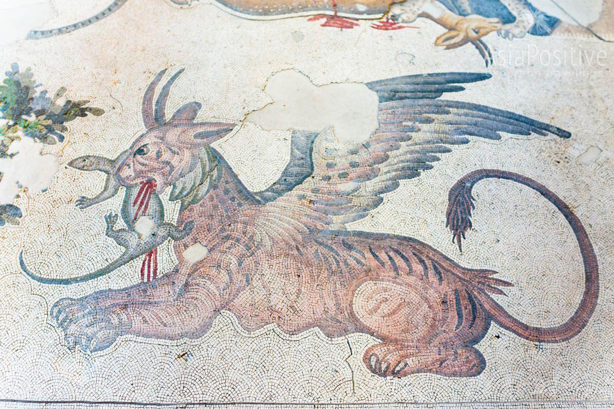 Mythical griffin devours a reptile. Mosaics Museum in Istanbul | Travel with AsiaPositive.com