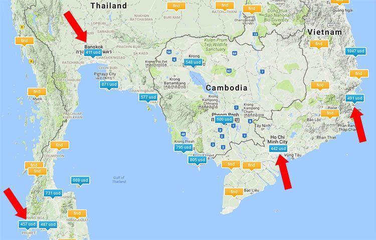 Карта низких цен на авиабилеты из Москвы в Таиланд и Вьетнам | 10 советов опытных путешественников, как найти и купить самый дешёвый билет на самолёт.| Авиабилеты и перелёт | Эксперт по путешествиям AsiaPositive.com