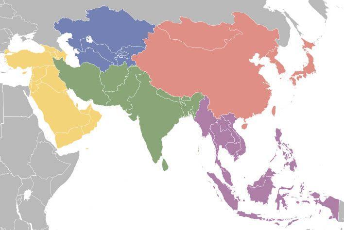 Азию принято делить на 6 регионов | Где начинается Азия. Какие страны Азии популярны для отдыха и путешествий и ради чего туда стоит поехать. | Лучшие страны Азии, в которые стоит поехать ради отдыха или путешествия - карты, список и краткое описание каждой страны. | Путешествия по Азии AsiaPositive.com