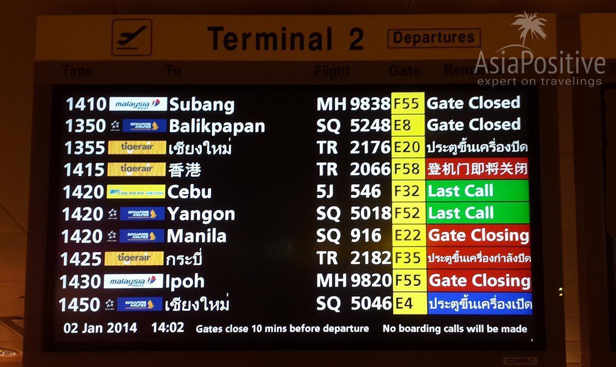 Табло в зоне вылета| Детальная пошаговая инструкция с фотографиями: что делать в аэропорту, на какую информацию на табло нужно обратить внимание, каким указателям следовать и что они означают (включая фото и перевод с английского). | Эксперт по путешествиям AsiaPositive.com