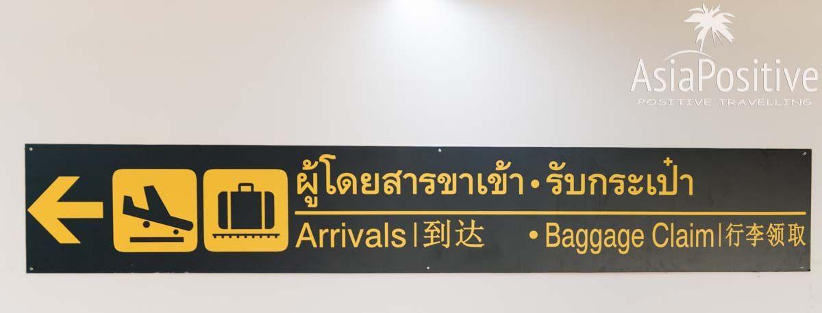 Указатель в аэропорту на зоня прибытия и получения багажа | Детальная пошаговая инструкция с фотографиями: что делать в аэропорту | Путешествия AsiaPositive.com