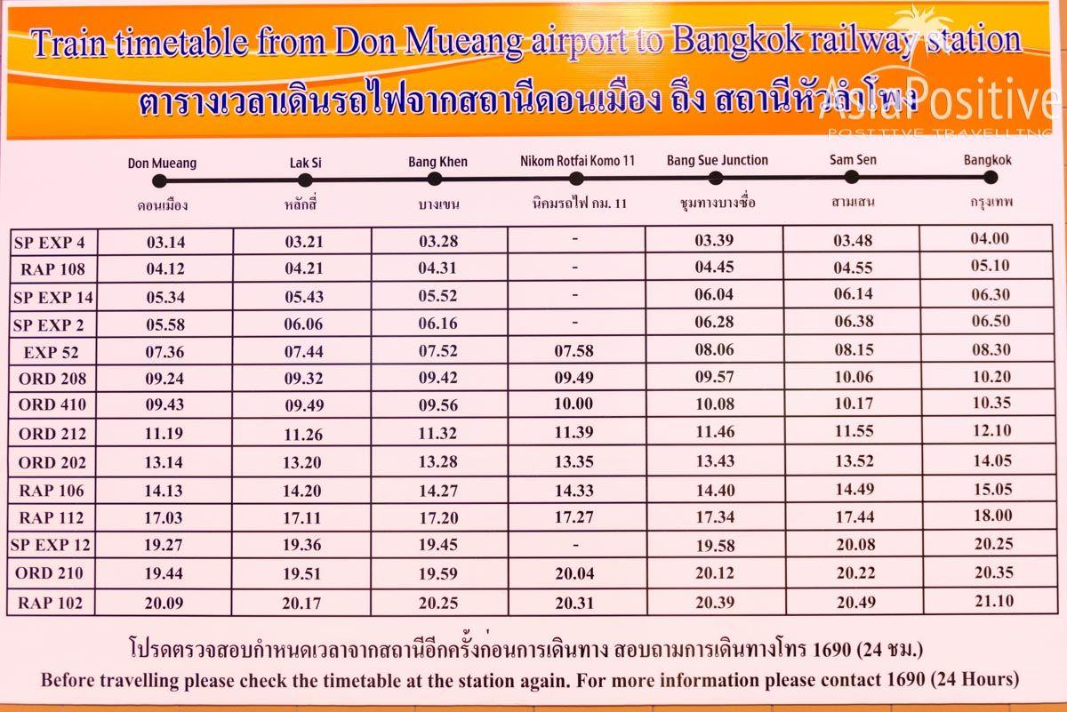Расписание поездов с аэропорта Дон Муанг в Бангкок | Как доехать из международного аэропорта Бангкока Дон Муанг до Бангкока: варианты, цены, расписание, фото и советы от опытных путешественников по Таиланду | Эксперт по путешествиям AsiaPositive.com
