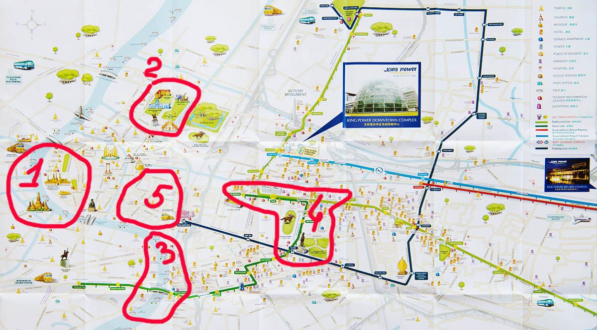 Карта Бангкока с достопримечательностями и схемой метро и BTS | Как разобраться в схеме метро Бангкока, как купить билеты и сэкономить своё время на их покупке, куда можно доехать на Metro и BTS Банкока. | Путешествия по Азии сAsiaPositive