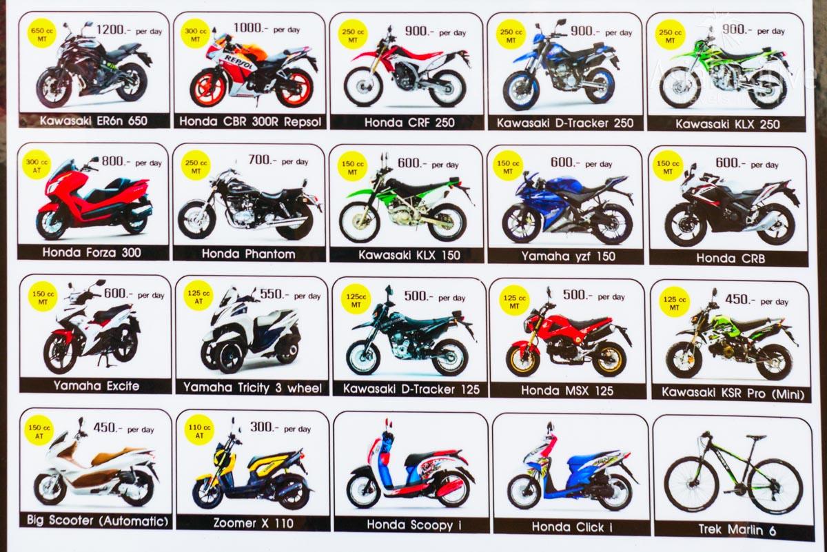 Ориентировочные цены на мопеды и мотоциклы в аренду | Транспорт на Ко Ланта | Таиланд | Путешествия с AsiaPositive.com