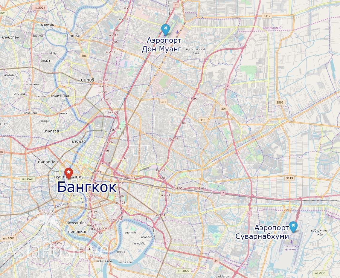 Международные аэропорты Бангкока на карте | Таиланд | Путешествия AsiaPositive.com