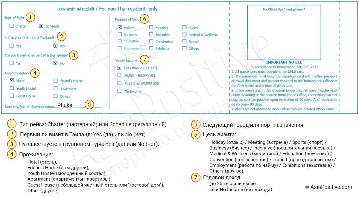 Образец заполнения и перевод на русский всех полей обратной стороны Arrival card миграционной карты в Таиланд | Инструкция и образец заполнения миграционной карты Таиланда | Позитивные путешествия AsiaPositive.com