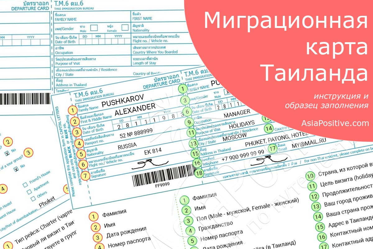 Образец, подробная инструкция и правила заполнения миграционной карты в Таиланд, обязательного документа для въезда в Таиланд для всех иностранцев | Путешествия AsiaPositive.com