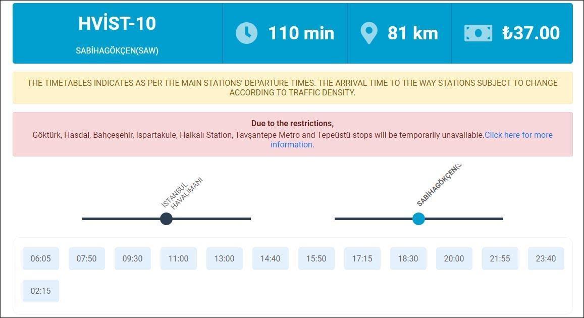 Расписание, стоимость и маршрут автобуса из Аэропорта Стамбула в аэропорт Сабихи Гёнчен