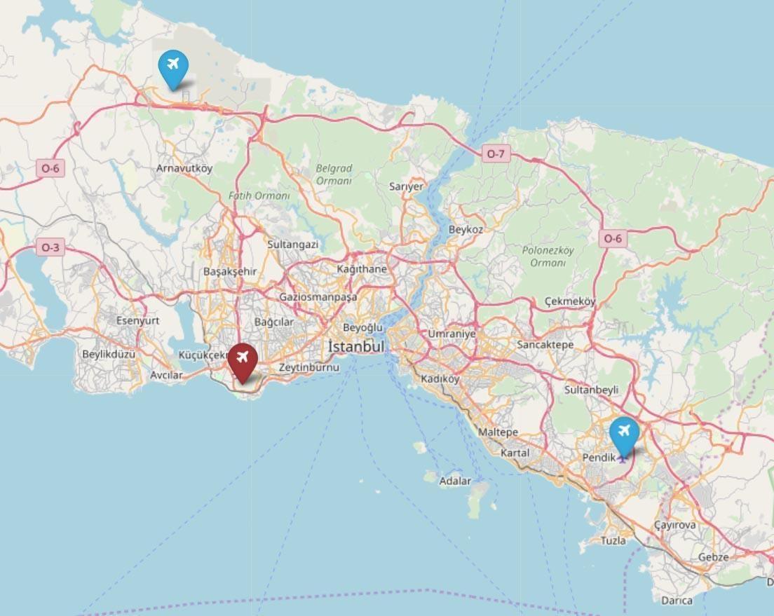 Все аэропоррты Стамбула на карте