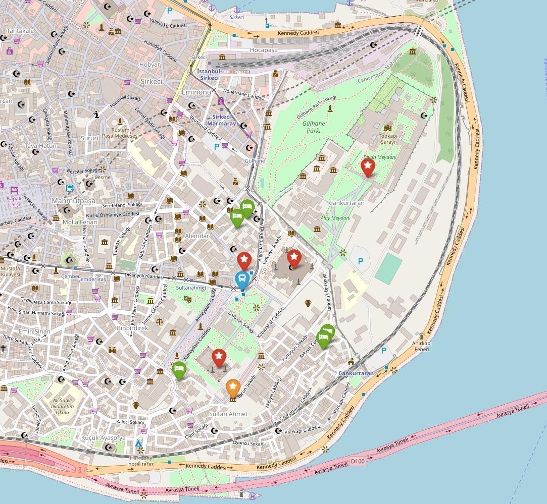 Карта исторического центра Стамбула - район Султанахмет | Турция | Путешествия с AsiaPositive.com